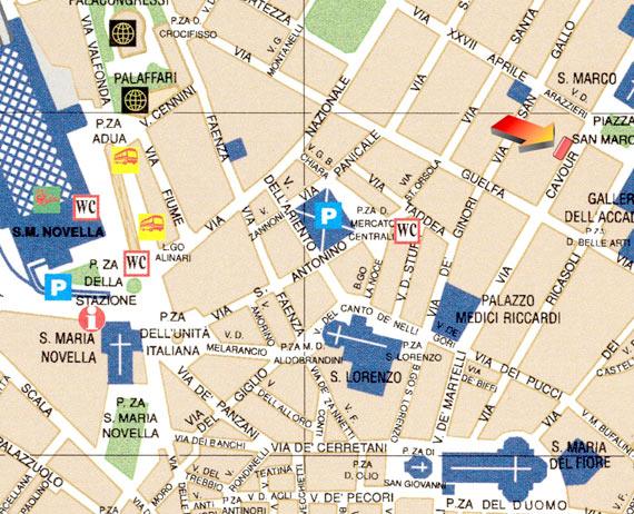 Cartina Stradale Firenze Centro.Biblioteca Marucelliana Informazioni